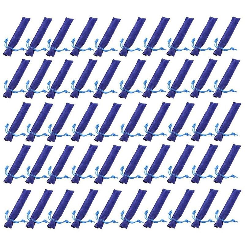 50 Pcs Blue Velvet Pen Pouch Sleeve Holder Single Pen Bag Case Pencil Bag