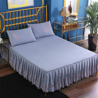 2019 new products Knitted cotton embroidery Bedspread Fitted Sheet Pillowcases 2/3pcs Solid Princess Lace Bedding