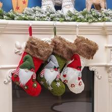 Christmas Stockings Doll-Sock Gift-Bag Santa-Gnome Xmas Large Candy Home-Decor Knitted