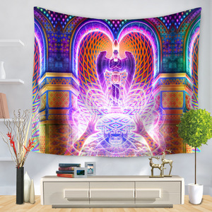 Image 2 - Cartoon Watercolor Painting Cloth Psychedelic Tapestry Wall Hanging Polyester Thin Couch Blanket Art Wall Carpets Yoga Shawl Mat