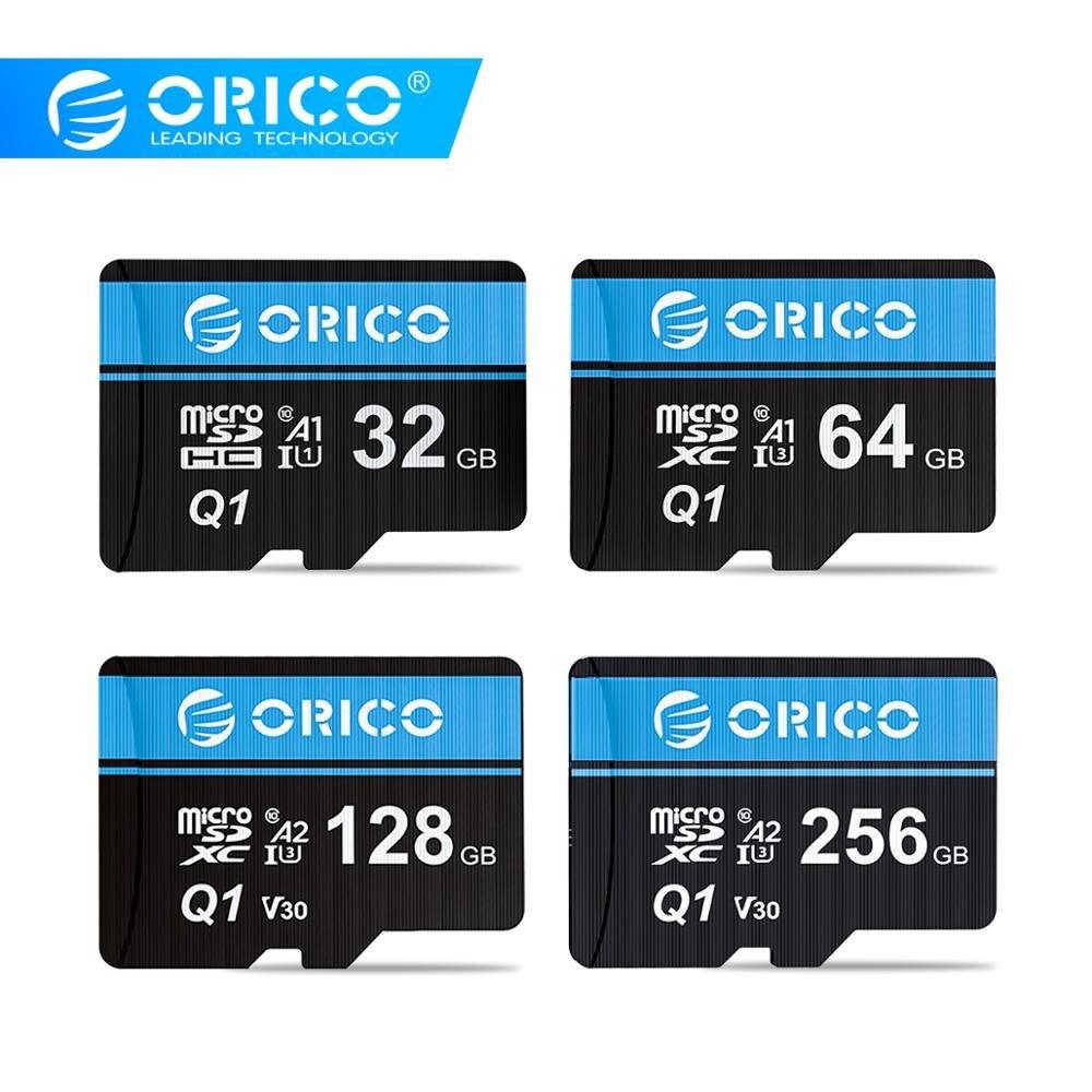 ORICO Micro carte SD carte mémoire 256GB 128GB 64GB 32GB 80 mo/s mini TF voiture Micro carte sd Class10 carte flash mémoire 32GB TF carte