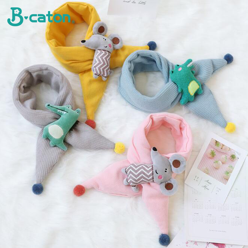 0-2 Year Old Baby Cartoon Animal Gloves Double Layer Plus Velvet Knitted Lanyard