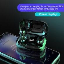TWS Bluetooth אוזניות 500mAh טעינת תיבת אלחוטי אוזניות 9D סטריאו ספורט עמיד למים אוזניות אוזניות עם מיקרופון