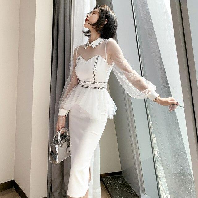 2021 New Women's Sexy Mesh Stitching Bag Arm Slim Temperament Small Dress High Waist Lantern Sleeves 1