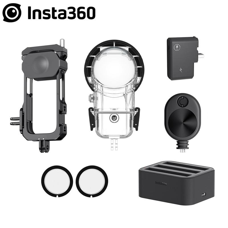 Insta360 um x2 acessório caso de mergulho/lente guardas/adaptador mic/rápido hub de carga da bateria/cabo de tempo bala/quadro de utilidade
