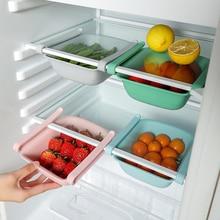 New Adjustable Refrigerator Organizer Drawer Basket Stretchable Refrigerator Pull-out Drawers Fresh Spacer Layer Storage Rack