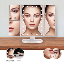 цены LED Makeup Mirror Night Light 22 Led Vanity Cosmetic Mirror Touch Screen Table lamp Adjustable Dimmable Dual Power Supply