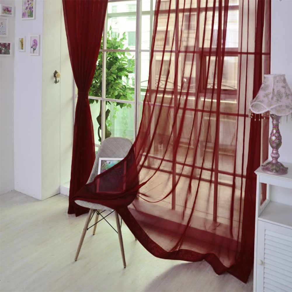 1 PCS Curtains Pure Color Tulle Door Window Curtain Drape Panel Sheer Scarf Valances тюль на окна Cortinas занавески #LR2