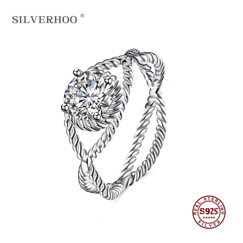 SILVERHOO 925 Sterling Silver Cross Curve Inlaid Stone Rings Jewelry Vintage Wedding Rings For Women Birthday Stone Gifts