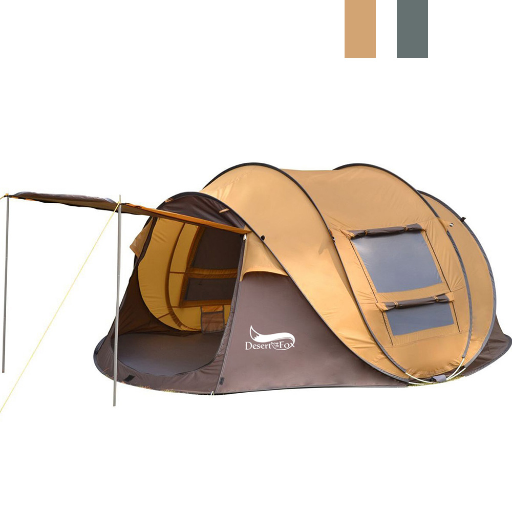 Desert&Fox Outdoor Camping Tents 3-4 Person Automatic Pop Up Instant Tent Hiking Travelling Tourist Fishing Beach Tents Awnings 1