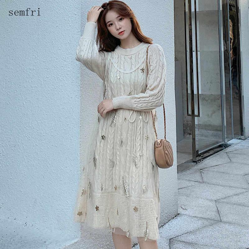 Semfri 니트 긴 여자 드레스 겨울 따뜻한 우아한 스웨터 드레스 요정 기질 메쉬 금속 자수 라인 드레스