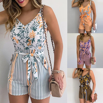 2021 NEW Women's Summer Print Jumpsuit Casual Slim Short Sleeve V-Neck Beach Rompers Sleeveless Bodycon Sexy Playsuit women summer tie dye print romper elastic waist short sleeve colorblock jumpsuit with pocket stylish loose casual beach playsuit