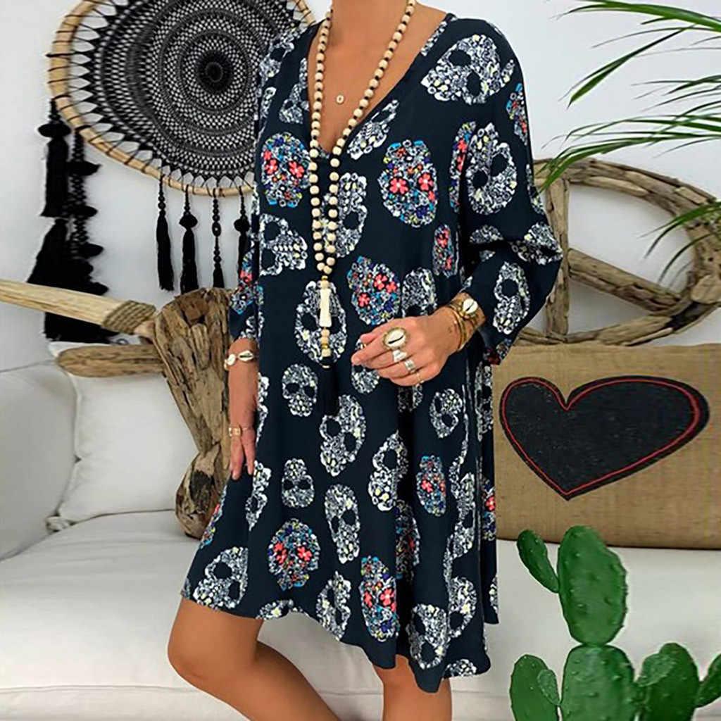新しい女性ドレスプラスサイズ 5XL プリント長袖 V ネックルーズ女性パーティードレスカジュアルドレス女性ロパ mujer 2019 vestidos