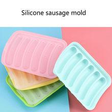 Comida grau de silicone salsicha molde diy caseiro bebê suplemento alimentar bandeja cozido salsicha cachorro quente caixa de alimentos para bebê acessórios