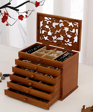 Solid wood wooden box makeup Storage Boxes jewerly box organizer retro style large multilayer marriage holiday