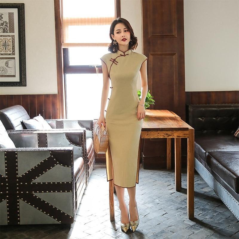 Solid Color Short Sleeve Vintage Cheongsam Chinese Women Satin Qipao Oversize 3XL Evening Gown Mandarin Collar Sexy Dress