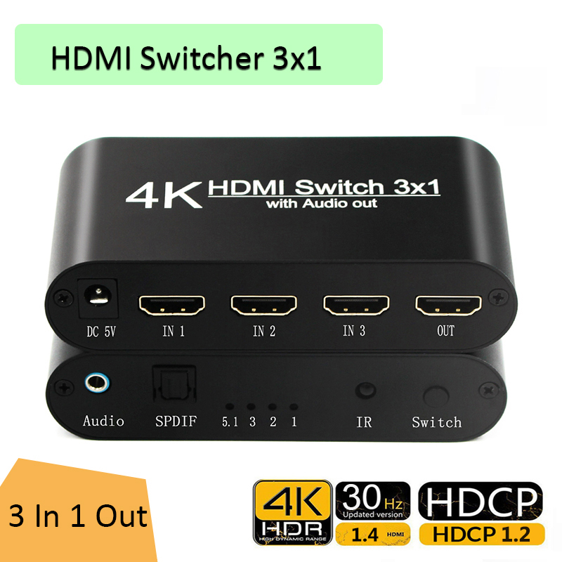 1080P HDMI to HDMI Switcher 3x1 3 In 1 Out 4K Audio Extractor with Remote Audio HDMI In SPDIF Out for TV PC Projector Camera
