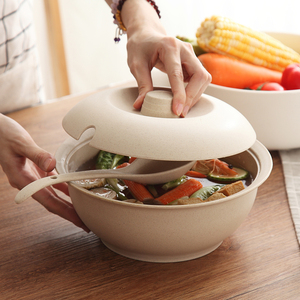 Креативная посуда из пшеничной соломы в японском стиле с крышкой, миска для супа, домашняя бинауральная миска для супа с большой температур...
