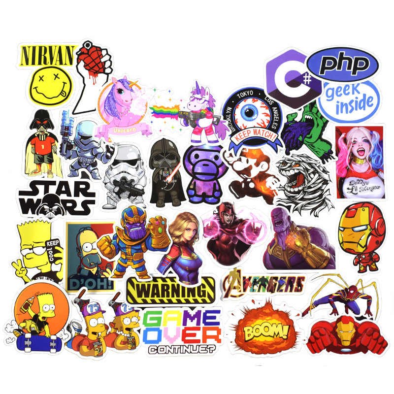 50pcs 24 Style HP Character Harried Luggage Sticker Waterproof Cute Stickers Star Wars Super hero Racing car Movie character