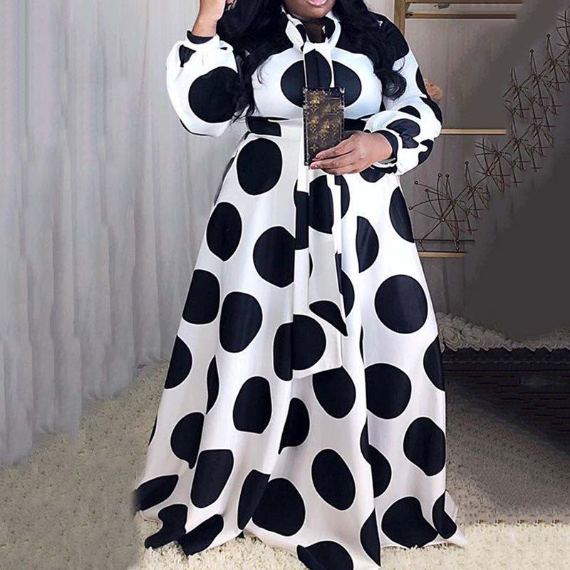 Plus Size 5XL Oversized Loose Contrast Color Dot Printed Floor-Length Maxi Dress High Waist Lantern Sleeve Elegant Retro African(China)