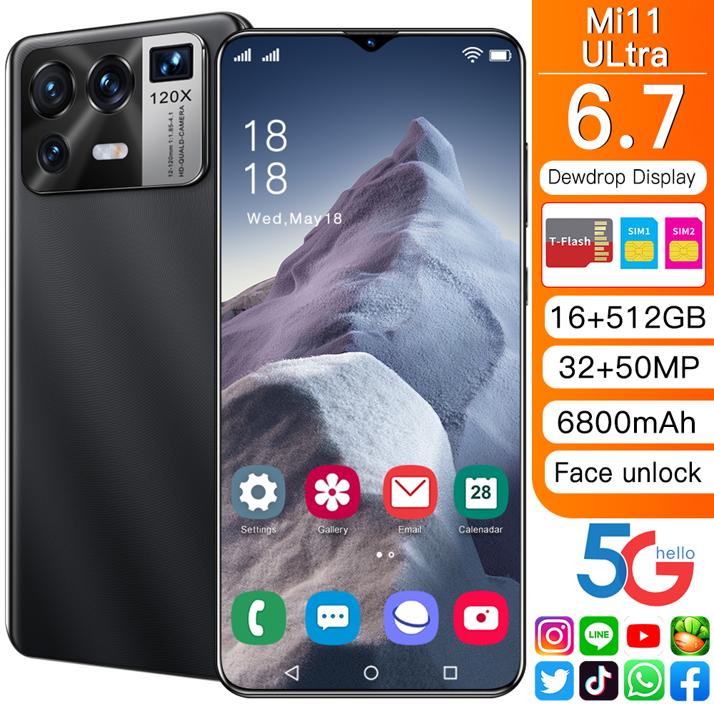 Mi 11 Ultra 6.7-inch Smartphone 6800mAh Battery 16+512G Android Phone Full Screen Supports Google Global Version Wifi 5G Phone