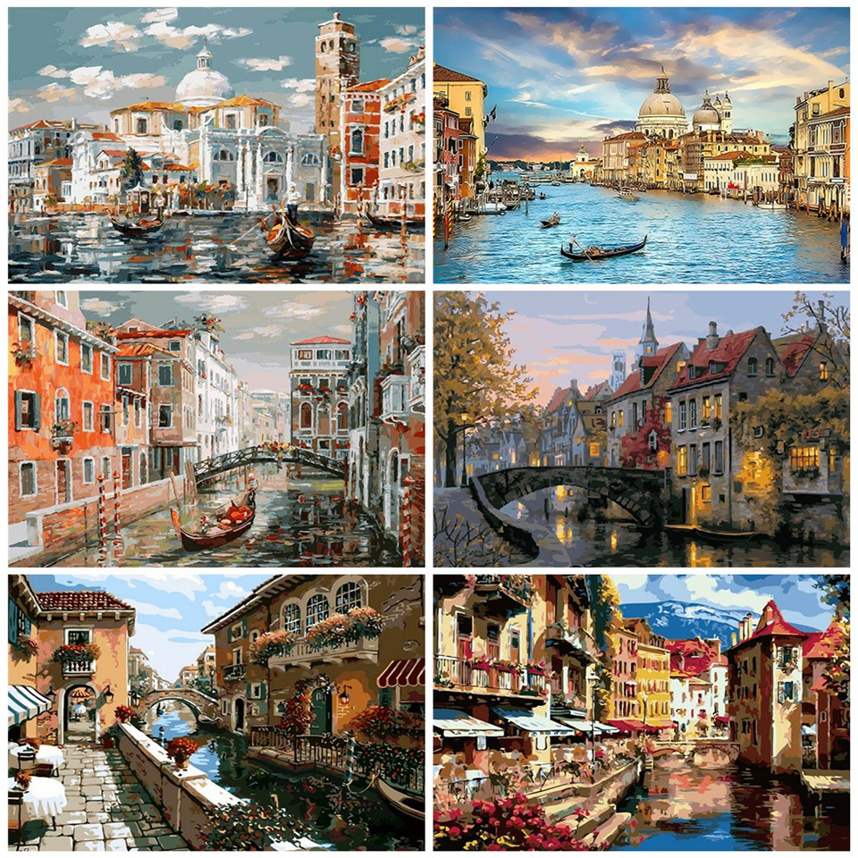 AZQSD DIY Painting By Numbers Unframe Landscape Handmade Gift Acrylic Paint Coloring By Numbers City Home Decoration