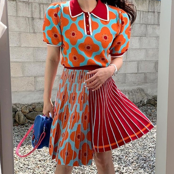 [EWQ] women Summer Retro Lapel Loose Puff Sleeve Sweater + High Waist Pleated Skirt Contrast Color Suit Fashion Casual16F08400 1
