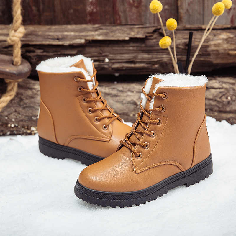 BONJOMARISA Dropship artı boyutu 35-44 su geçirmez kar botları kadın 2020 kış rahat dantel-up düz patik düşük topuklu ayakkabılar kadın