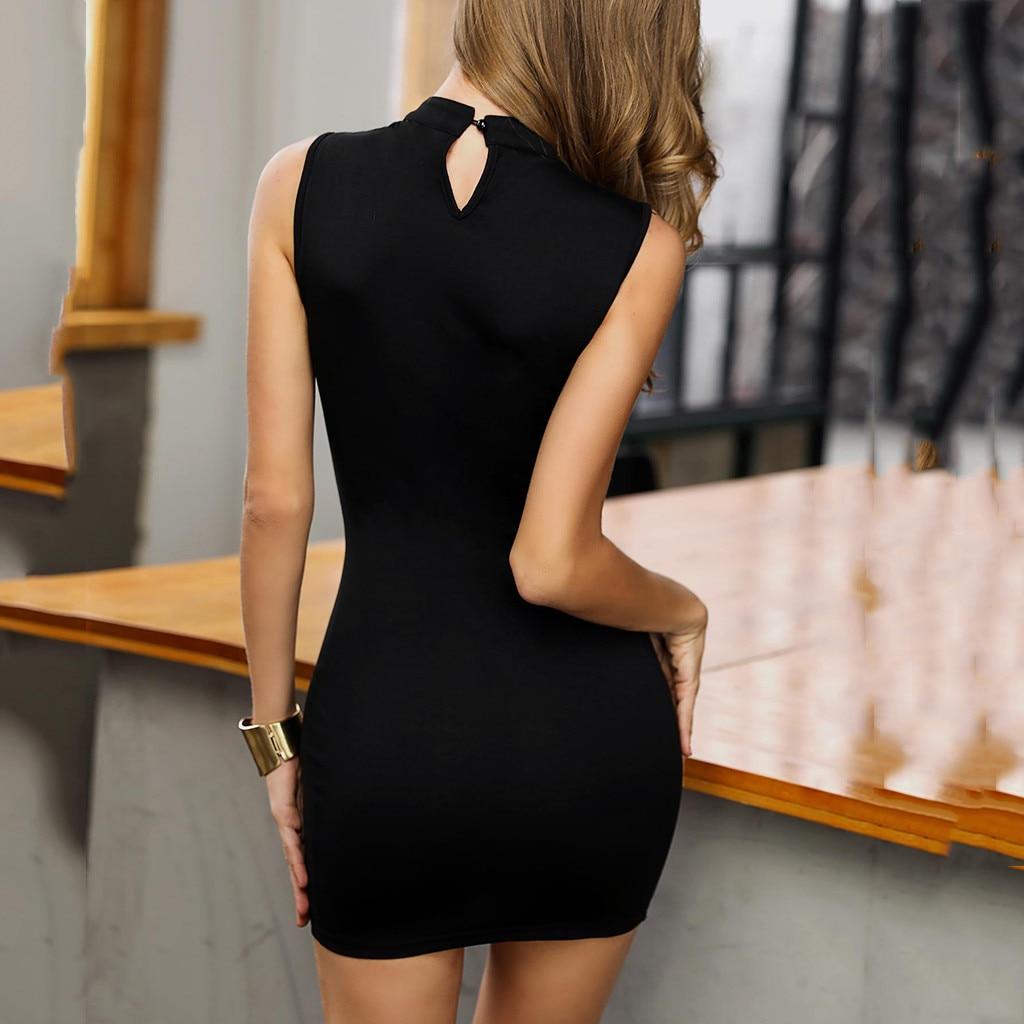 Women Sexy Dress O Neck Sleeveless Hollow Out Nail Beading Bodycon Party Mini Dresses Elegant Casual