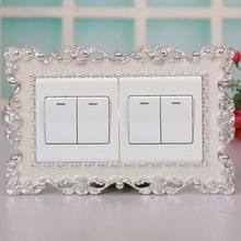 Stickers Decoration Silver Creative European Rose Resin N1W5 Switch-Cover Lace Double-Switch