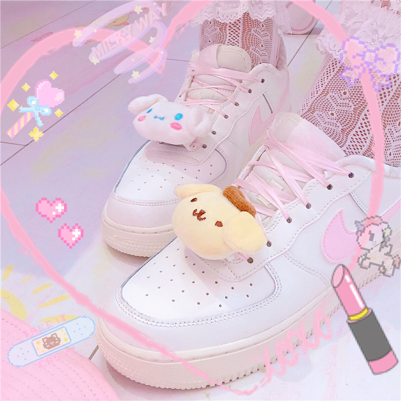 1pc Lovely Cinnamoroll Plush Dogs Pudding Dog Shoes Lace Buck Sneaker Laces Closures Shoes Creative Novelty Buckles Lock
