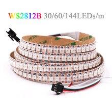5V WS2812B Rgb Led Strip Licht 5050 Waterdichte 144/30/60LED/M WS2812 Ic Flexibele Led tape Full Color Rgb Pixel Lichten 1M 2M 5M