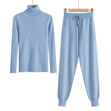 Knitted Tracksuit Turtleneck Sweater Set Pants SF
