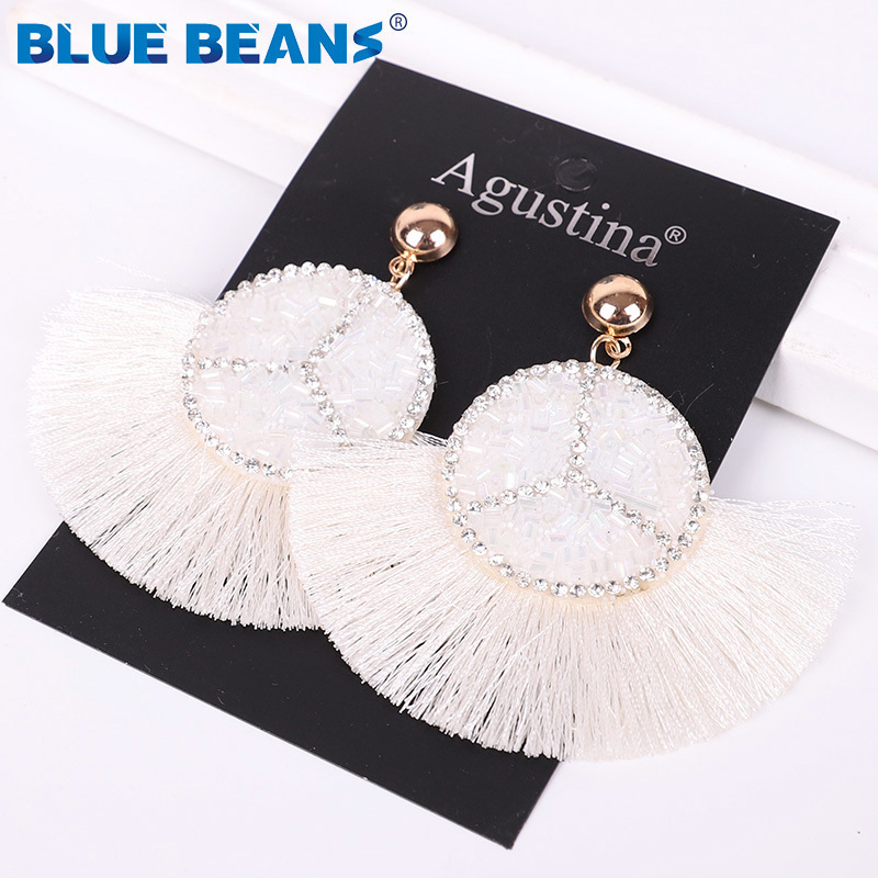 H68e419b1dbcf4b889b4025ae32b8a8e7D - Tassel Earrings Women Punk Earings Fashion Jewelry Hanging Crystal Star Girls Earring Drop Dangle Long Boho Set  Luxury Handmade