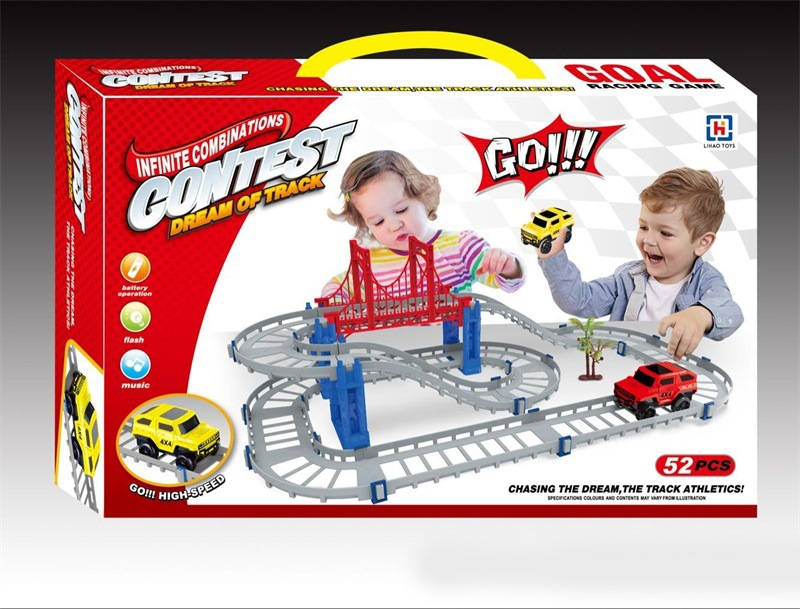 Children'S Educational Electric Camera Track Car Assembled Double Layer Flexible Track Train Car Toy Stall