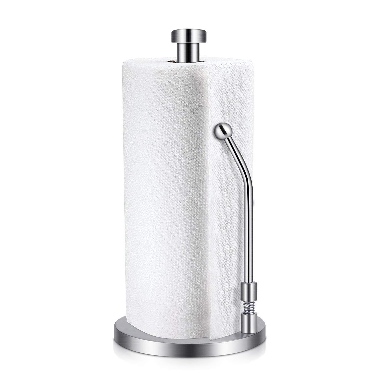 Paper Towel Holder Stainless Steel Standing Tissue Holder One-Handed Tear Perfect Modern Design For Kitchen Keeps Kitchens