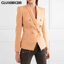 Пиджак женский коричневый элегантный двубортный блейзер с длинным