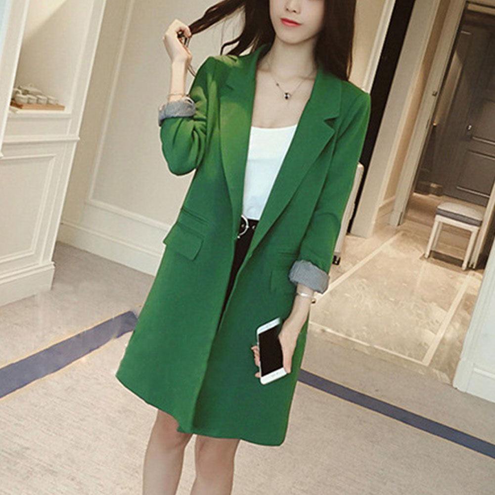 Ladies Blazer Coat Spring Fashion Womens Long Sleeve Hidden Breasted Casual Blazer Coat Jacket Solid Long Tops Black Green Coat