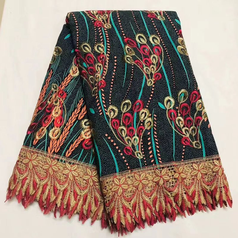 African Ankara Lace Wax Fabric For Women High Quality 100% Cotton Wax Pange Africain Nigerian Prints Wax With Embroidery Lace