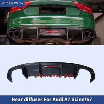 Carbon Fiber / FRP Car Rear Bumper Lip Auto Diffuser Spoiler With light for Audi A7 Sline S7 2013 2014 2015
