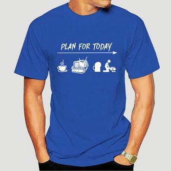 Bawełniana koszulka męska letnia s męska koszulka Plan na dziś kawa ciężarówka piwo Fk zabawna czarna koszulka S-6xl podkoszulek z nadrukiem 3610x tanie i dobre opinie Daily SHORT CN (pochodzenie) COTTON Cztery pory roku SPORTS Z okrągłym kołnierzykiem tops Z KRÓTKIM RĘKAWEM Casual
