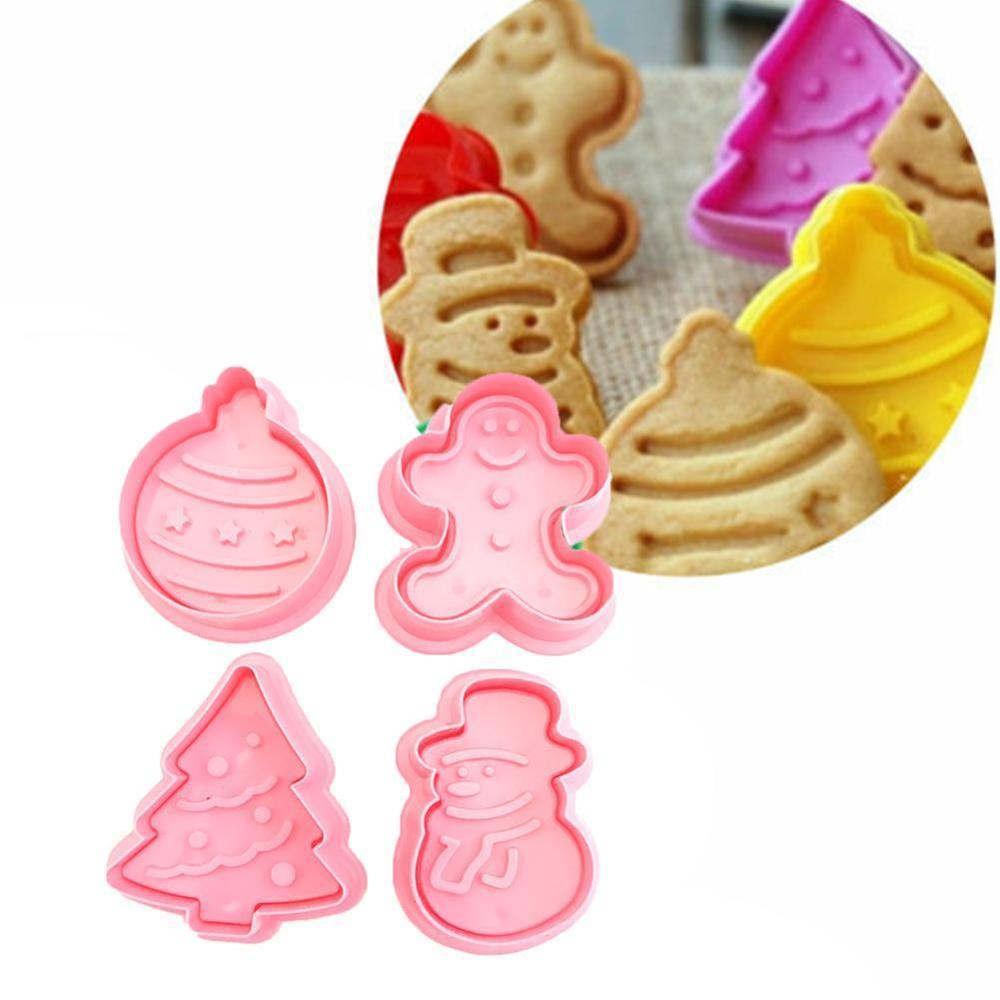 4pcs Noël Animal Biscuit Icing Cutter Set Moule Fondant Moule Gâteau