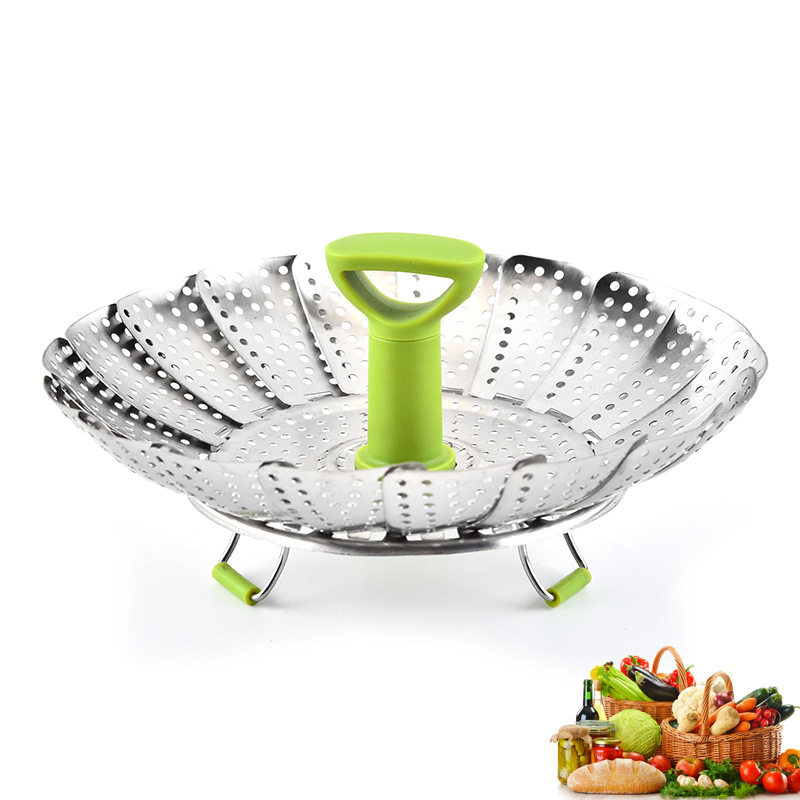 9-Inch 430 Stainless Steel Sanding Steamer Multi-functional Steamer Water Drainer Kitchen Supplies Telescopic Folding Fruit Plat