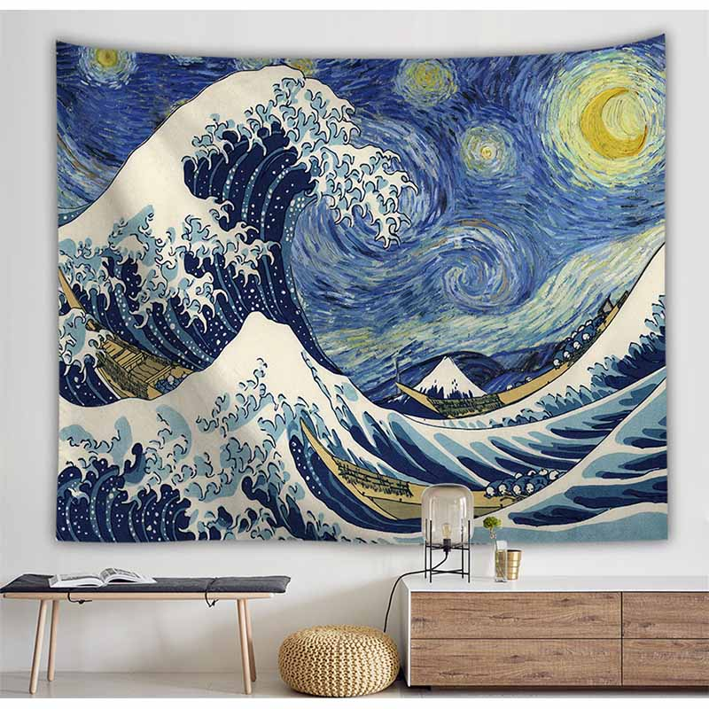 Van Gogh Landscape Ocean Wave Tapestry Wall Hanging Backdrop Decor Hippie Tapestry Cloth Art Wall Tapestry Blanket Beach Towel