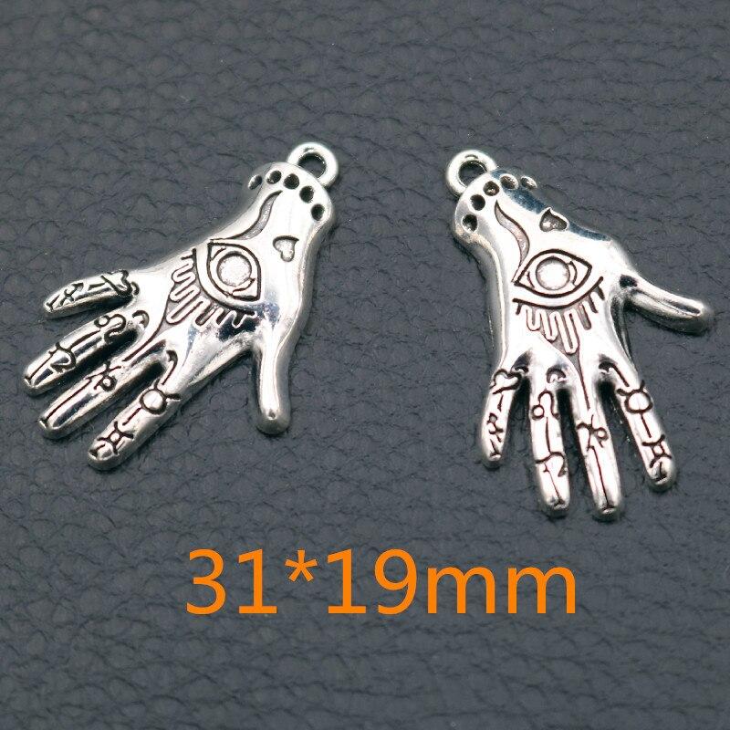 10pcs Fashion Palm Metal Pendant, Tattoo Hand Charms, Devil Hand Charms, Elven Hand Charms, DIY Jewelry Handicraft 31*19mm A2185(China)