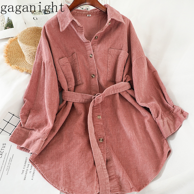 Gaganight Solid Elegant Women Corduroy Blouse New Spring Autumn Casual Loose Shirt Office Lady Chic Blusas Long Korean Blouses