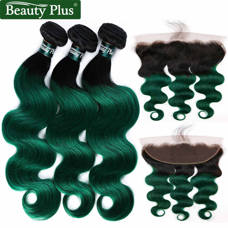 Green Bundles With Frontal Body Wave Ombre 2 Tone Brazilian Remy Human Hair Weave 3 Bundles With Closure 13x4 Pre Colored BP