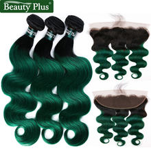 Tissage naturel brésilien Body Wave avec Closure | Cheveux Remy, 2 tons, ombré, vert, 13x4, pré-colorés, BP, lots de 3(China)