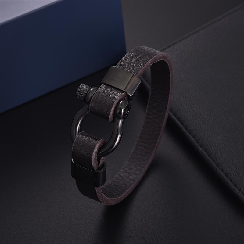 Jiayiqi Men Leather Bracelet Stainless Steel Horseshoe Buckle Casual Bangle 2020 New Fashion Bracelet & Bangle Male Jewelry Gift