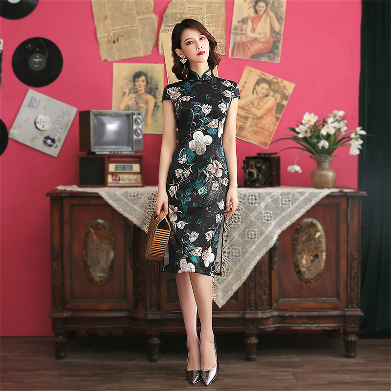 Sheng COCO Sexy Black Floral Chinese Dresses Party Cheongsam 2020 New Traditional Chinese Qipao Prom Gowns Women Retro Chipao